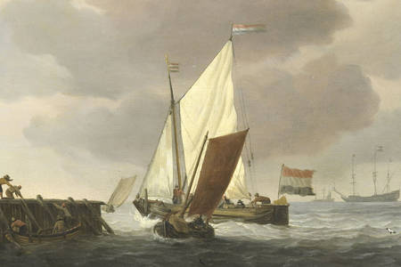 "Willem van de Velde the Younger: ""Ships off the coast in windy weather"""