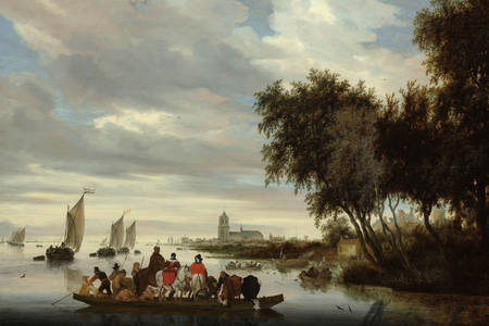 "Salomon van Reusdal: ""River landscape with a ferry"""