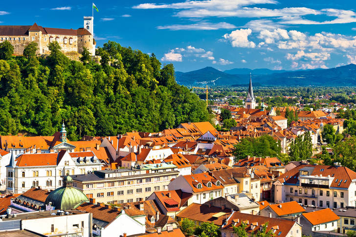 Panoramic view of the city of Ljubljana