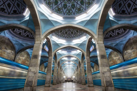 The architecture of the metro station in the center of Tashkent