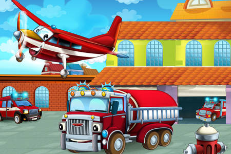 Fire trucks and aircraft
