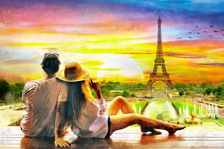 Puzzle Couple D Amoureux A Paris Art Peinture Puzzle Garage