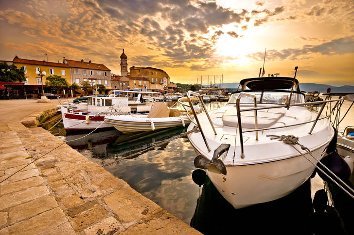Boats at the pier of the island of Krk