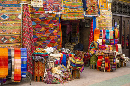 Colorful fabrics on the market