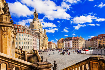 Neumarkt square in the center of Dresden