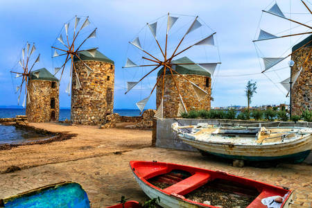 Windmills on the island of Chios
