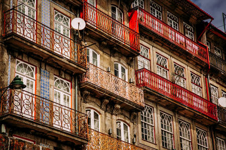 Beautiful facade of a house in the city of Porto