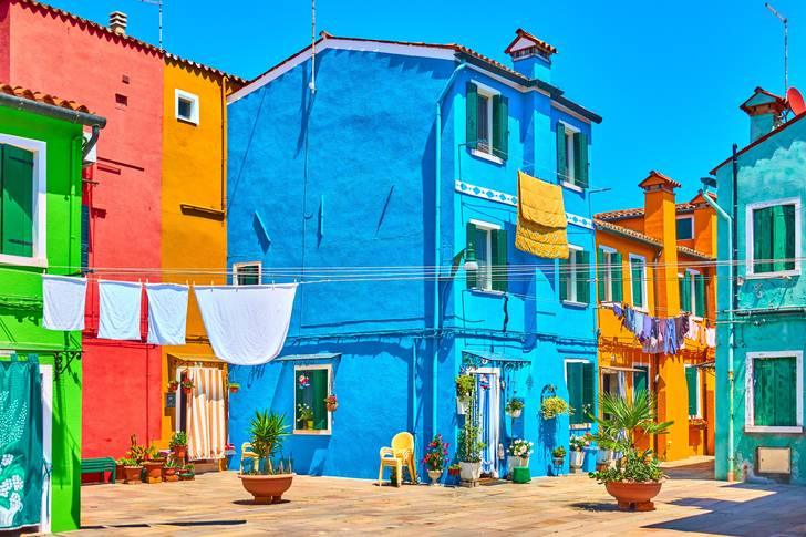Picturesque street on Burano island