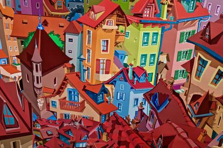 Colorful cartoon city