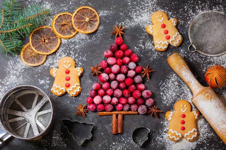 Cranberry tree and Christmas gingerbread