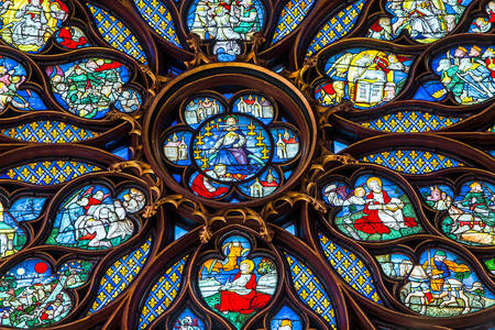 Fragment of a stained glass window in the Sainte-Chapelle chapel