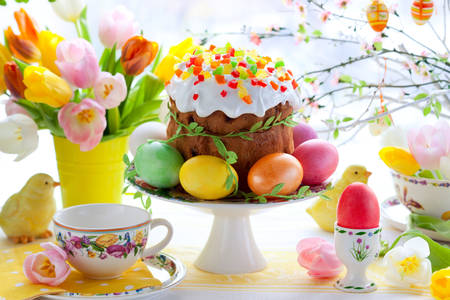 Easter cake on the festive table