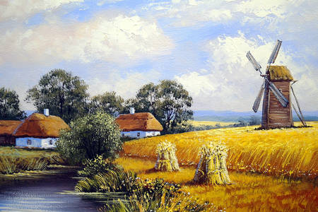 Mill in wheat field