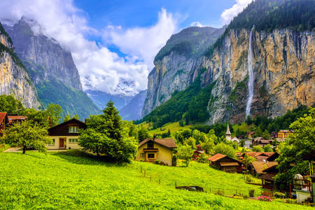 View of the village of Lauterbrunnen