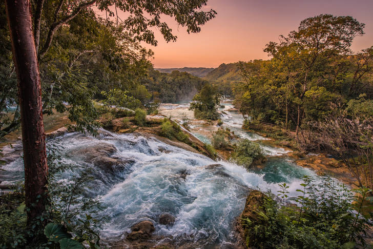 Sunset over the waterfalls Agua Azul
