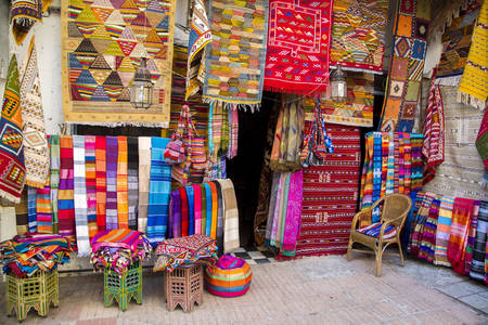 Colorful fabrics at Agadir market in Morocco