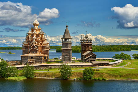 Church of the Transfiguration and bell tower on Kizhi island