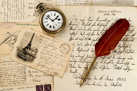 Old letters, pen and pocket watch