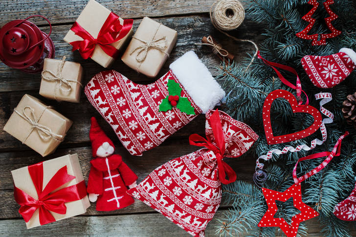 Gifts with Christmas pattern