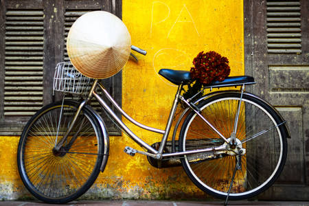 Bicycle with flowers and asian hat