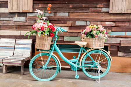 Retro bike with flowers