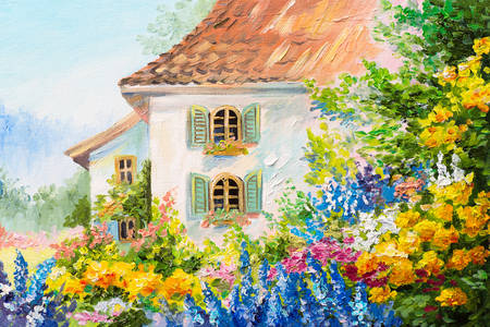 House in a flower garden
