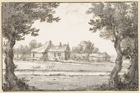 "Claes Jansz Visscher (II): ""View of a farm"""