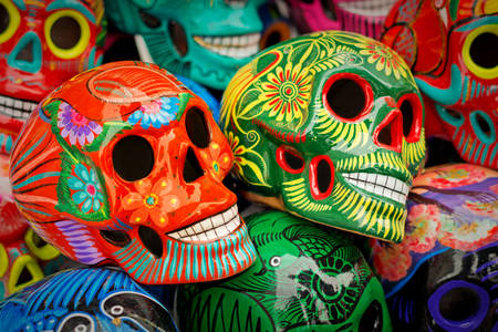 Colorful handmade skulls