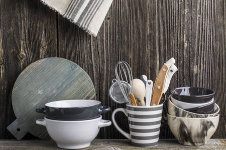 Kitchen utensils in gray colors