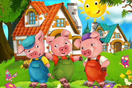 "Scene from the fairy tale ""Three Little Pigs"""
