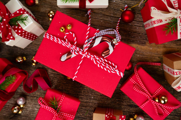 Christmas gifts in red and white boxes