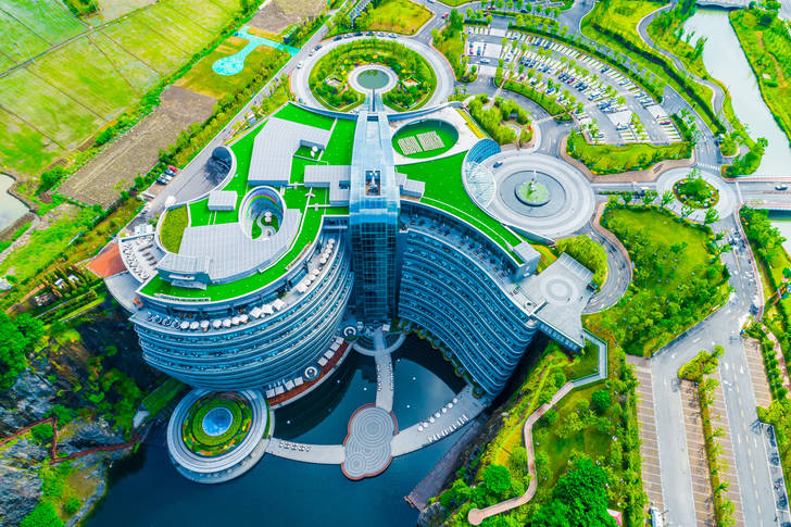 Top view of a unique hotel in Shanghai