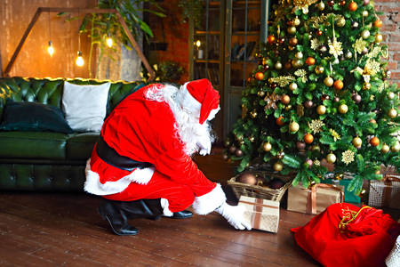 Santa Claus puts gifts under the tree