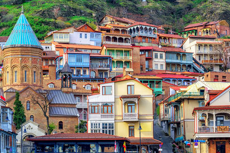 Colorful houses in the old town of Tbilisi