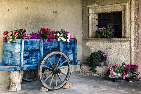 Cart with flowers at the old house