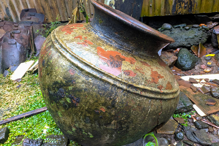 Old clay barrel