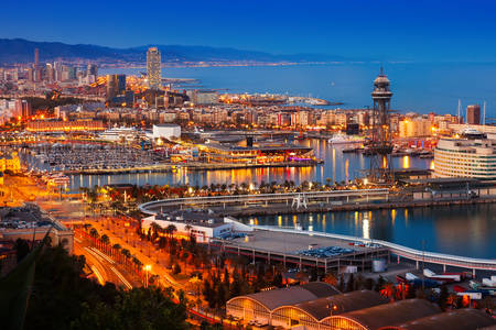 Evening Port of Barcelona