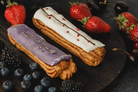 Eclairs and berries