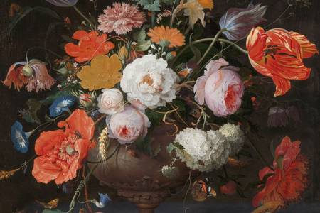 "Abraham Mignon: ""Still Life with Flowers and a Clock"""