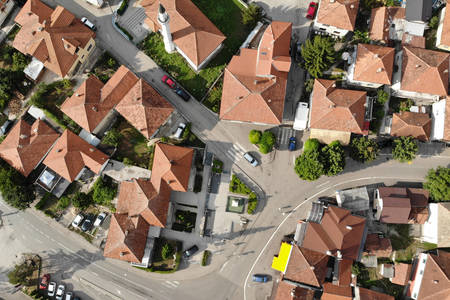 Roofs of houses from above
