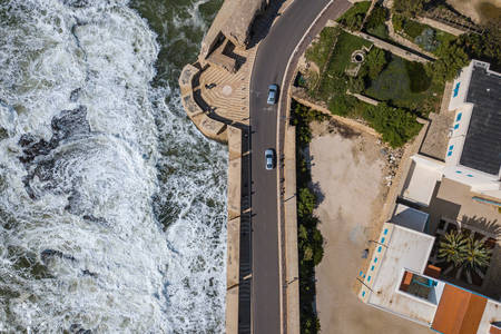 Top view of the sea and the embankment road