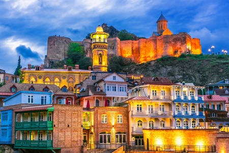 Evening Tbilisi and Narikala fortress