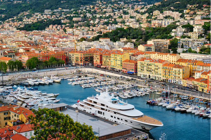 View of the old port of Nice with yachts