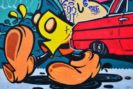 Graffiti with cartoon characters elements
