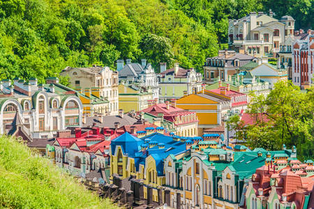 Colored Kiev houses