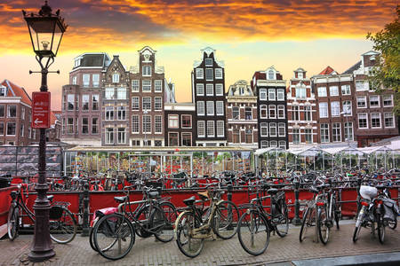 Traditional old houses and bicycles in Amsterdam