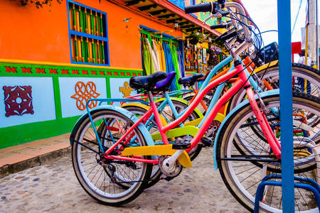 Bicycles on the street in Guatapa