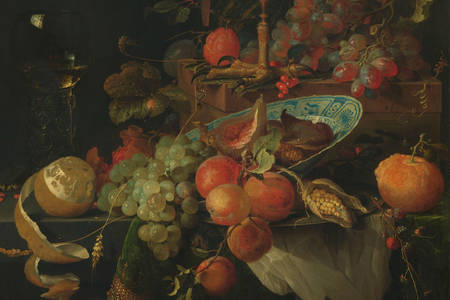 "Abraham Mignon: ""Still Life with Fruit and a Cup"""