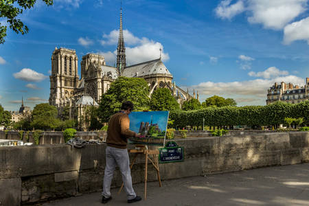 Artist paints Notre Dame Cathedral