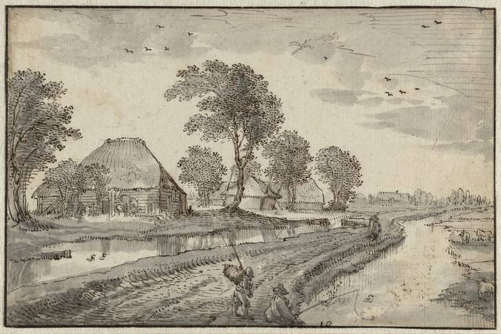 "Claes Jansz Visscher (II): ""Road between Watercourses in a Polder Landscape"""